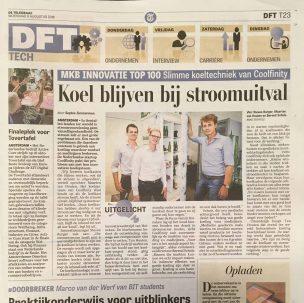 Newspaper item De Telegraaf Coolfinity